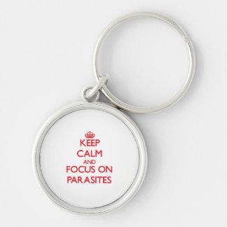 kEEP cALM AND FOCUS ON pARASITES Keychains