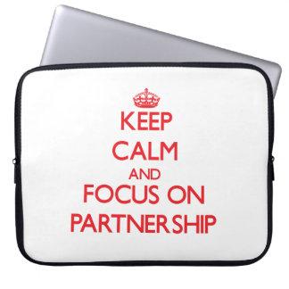 Keep Calm and focus on Partnership Computer Sleeve