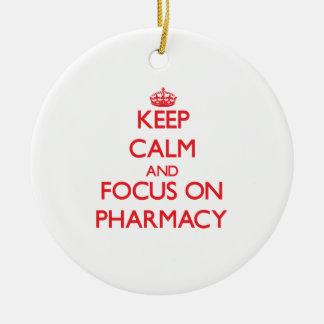 Keep Calm and focus on Pharmacy Christmas Ornament