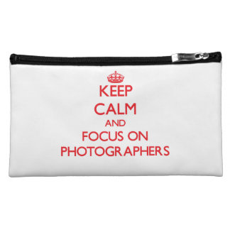 Keep Calm and focus on Photographers Cosmetic Bags