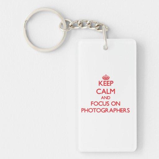 Keep Calm and focus on Photographers Rectangular Acrylic Keychains