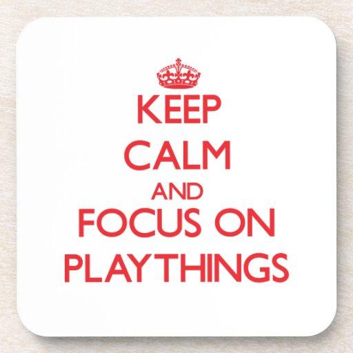 Keep Calm and focus on Playthings Beverage Coasters