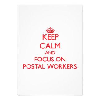 Keep Calm and focus on Postal Workers Custom Invitations