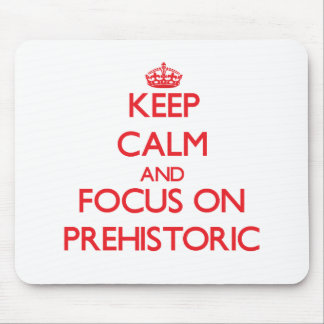 Keep Calm and focus on Prehistoric Mouse Pads