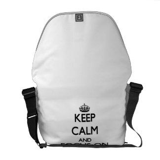 Keep Calm and focus on Pretzels Messenger Bags