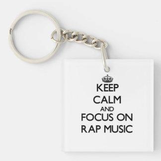 Keep Calm and focus on Rap Music Square Acrylic Keychain