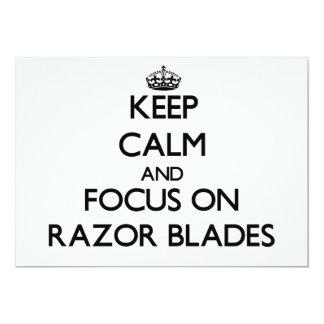 "Keep Calm and focus on Razor Blades 5"" X 7"" Invitation Card"