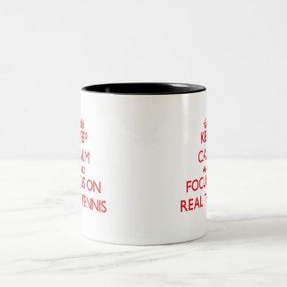 Keep calm and focus on Real Tennis Two-Tone Coffee Mug