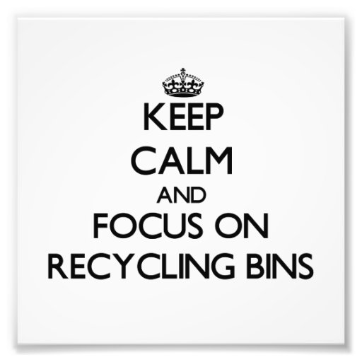 Keep Calm and focus on Recycling Bins Photograph