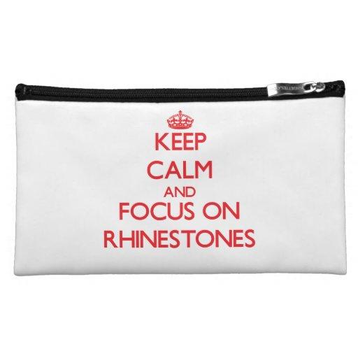 Keep Calm and focus on Rhinestones Cosmetic Bag