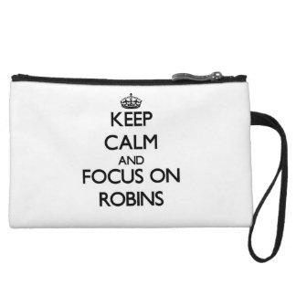 Keep Calm and focus on Robins Wristlet Clutch