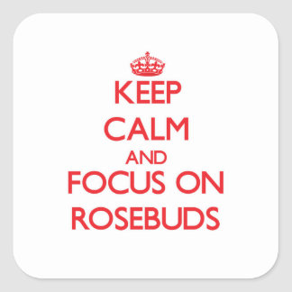 Keep Calm and focus on Rosebuds Square Sticker