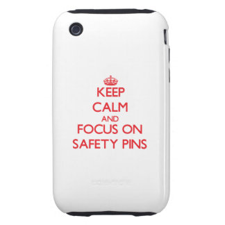Keep Calm and focus on Safety Pins Tough iPhone 3 Case