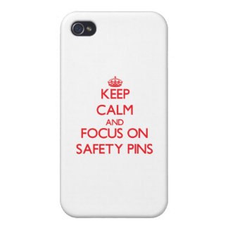 Keep Calm and focus on Safety Pins iPhone 4/4S Covers