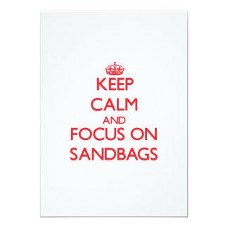 """Keep Calm and focus on Sandbags 5"""" X 7"""" Invitation Card"""