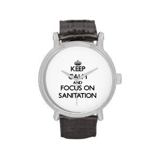 Keep Calm and focus on Sanitation Wrist Watch