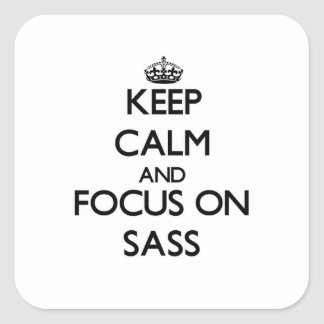 Keep Calm and focus on Sass Square Sticker