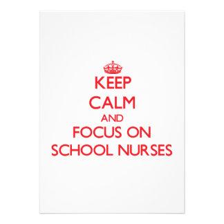 Keep Calm and focus on School Nurses Custom Invitation