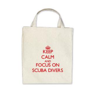 Keep Calm and focus on Scuba Divers Canvas Bag