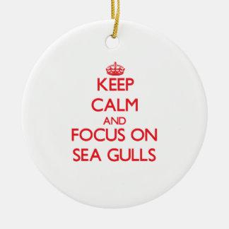 Keep Calm and focus on Sea Gulls Christmas Ornaments