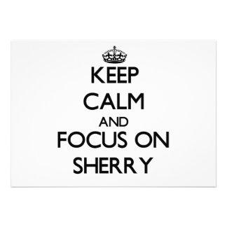 Keep Calm and focus on Sherry Custom Invitation