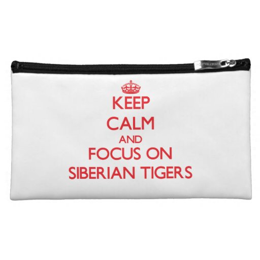 Keep calm and focus on Siberian Tigers Cosmetic Bag