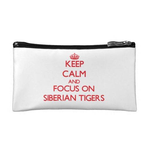 Keep calm and focus on Siberian Tigers Makeup Bag