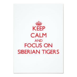 Keep calm and focus on Siberian Tigers Custom Invites