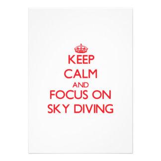 Keep Calm and focus on Sky Diving Custom Invitations