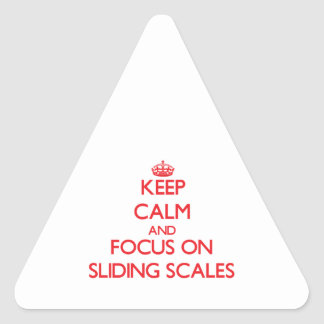 Keep Calm and focus on Sliding Scales Triangle Sticker