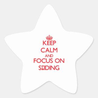 Keep Calm and focus on Sliding Star Sticker