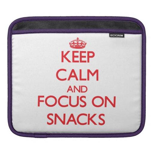 Keep Calm and focus on Snacks iPad Sleeves