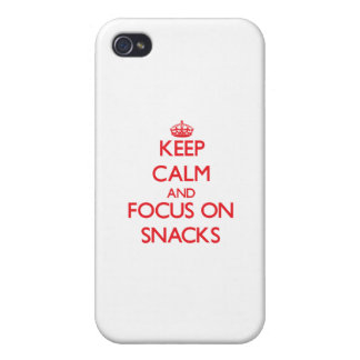 Keep Calm and focus on Snacks iPhone 4 Case