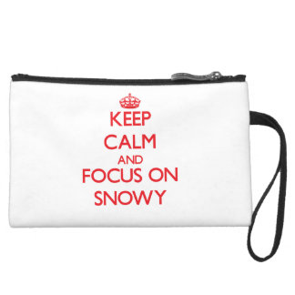Keep Calm and focus on Snowy Wristlet Purse