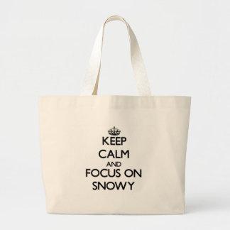 Keep Calm and focus on Snowy Canvas Bag