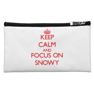 Keep Calm and focus on Snowy Cosmetic Bags