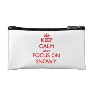 Keep Calm and focus on Snowy Cosmetics Bags