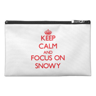Keep Calm and focus on Snowy Travel Accessory Bags