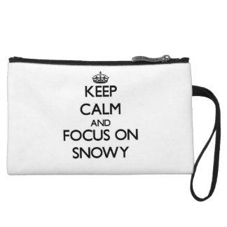 Keep Calm and focus on Snowy Wristlet Purse