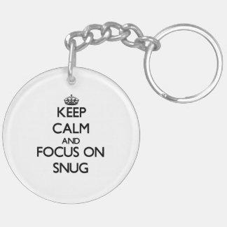 Keep Calm and focus on Snug Double-Sided Round Acrylic Key Ring
