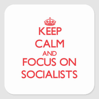 Keep Calm and focus on Socialists Square Sticker