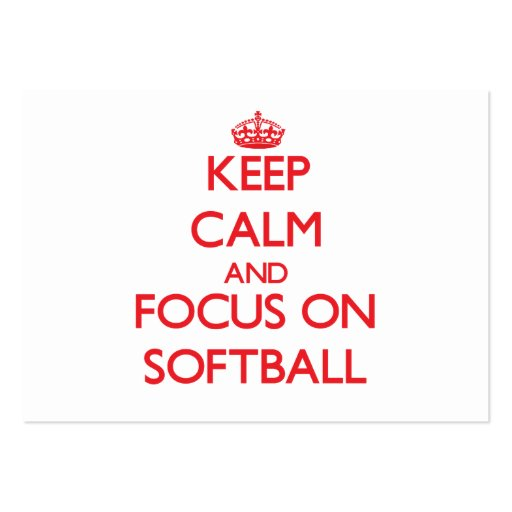 Keep Calm and focus on Softball Business Card Templates