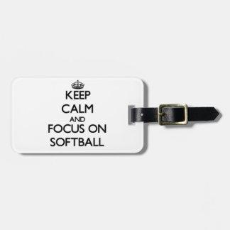 Keep Calm and focus on Softball Luggage Tag