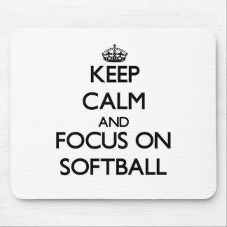 Keep Calm and focus on Softball Mouse Pads