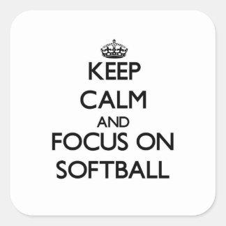 Keep Calm and focus on Softball Square Sticker