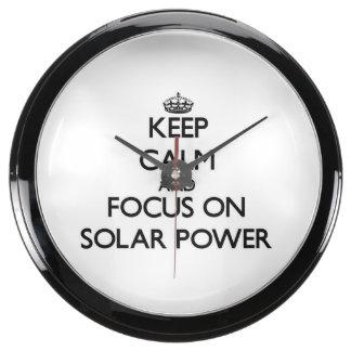 Keep Calm and focus on Solar Power Aquavista Clocks