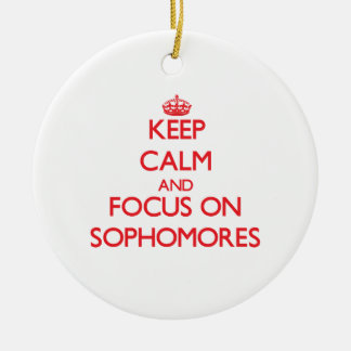 Keep Calm and focus on Sophomores Christmas Ornament
