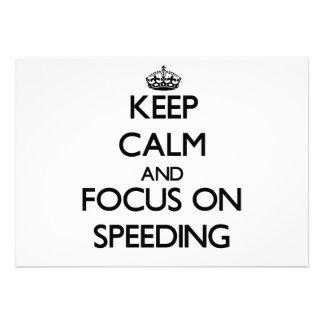 Keep Calm and focus on Speeding Custom Invitation