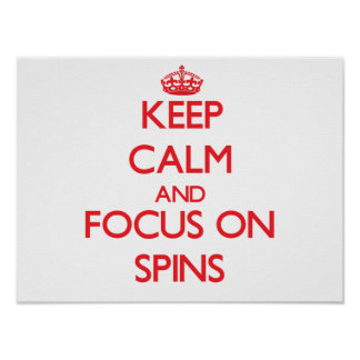 Keep Calm and focus on Spins Poster