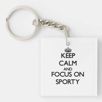 Keep Calm and focus on Sporty Acrylic Keychain
